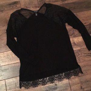 White House Black Market lace shoulder long sleeve